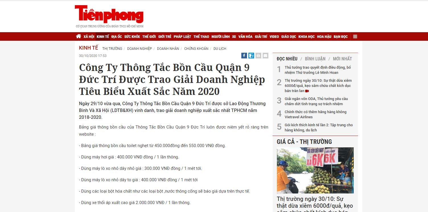 Báo Tiền Phong nói về Công Ty Thông Tắc Bồn Cầu Toilet Quận 9 Đức Trí